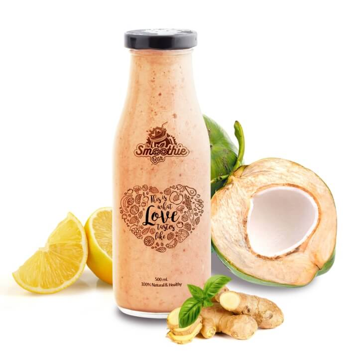 Nirvana Cold Pressed Juice Drink - Tender Coconut, Ginger, Basil & Lemon