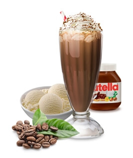 Caffétella Coffee Shake, Milkshake, Thick Shake Coffee, Nutella and Ice Cream