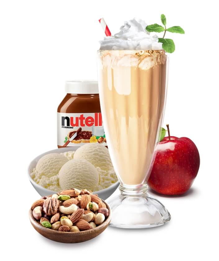 Nutzella Indulge Thich Shake, Milkshake, Thick Shake Nutella, Apple, Nuts and Vanilla Ice Cream