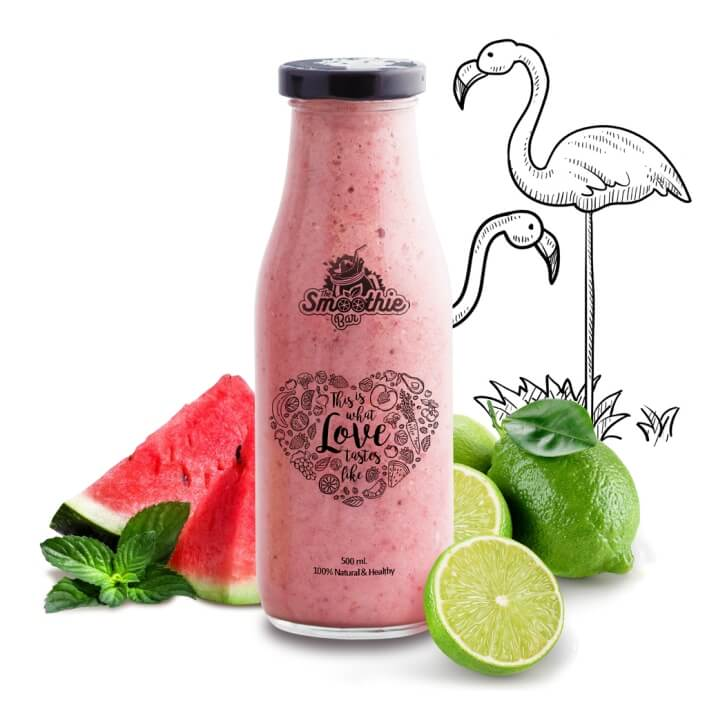 Flamingo Smoothie Drink - Watermelon, Mint & Lime
