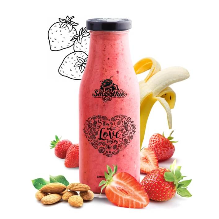 Very Berry Smoothie Drink - Strawberries, Almonds and Bananas